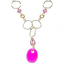 "23"" Pink Crystal Stone Bead Gold Ring Gemstone Chain Jewelry Y Pendant Necklace"