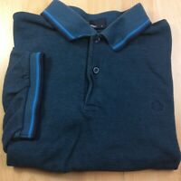 Fred Perry Large Blue Solid Short Sleeve Twin Tipped Polo Shirt Logo Genuine
