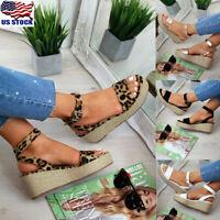 Women's Wedge Heel Summer Beach Platform Sandals Open Toe Chunky Shoes Size 6-10