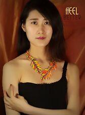 Collar Dorado Corto Colgante Multicolor Naranja Amarillo Hoja Vintage OSC2