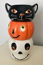 Halloween Skull Black Cat Pumpkin Stacking Tea Light Candle Holders Hallmark
