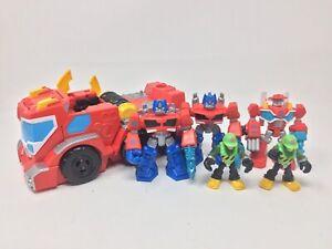 Lot Of 6 Transformers Rescue Bots Playskool Heroes, Optimus Prime Heatwave +