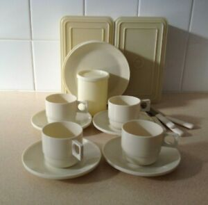 Vintage Retro Sirram Picnic Set with lunch Boxes, Cups, Saucers Plates Knives