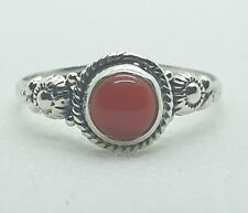 Brand New Sterling Silver 925 Carnelian Ring Size P