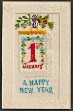 EMBROIDERED SILK postcard Happy New Year