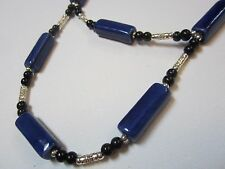 Cobalt Blue Ceramic Bead Necklace and  Earring Set