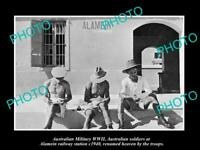 OLD LARGE HISTORIC PHOTO AUSTRALIAN MILITARY WWII TROOPS AT ALAMEIN STATION 1940
