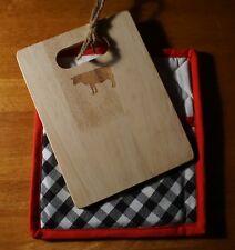 COW BBQ Barbeque Wood Cutting Board & Black Gingham Pot Holder Kitchen Combo NEW
