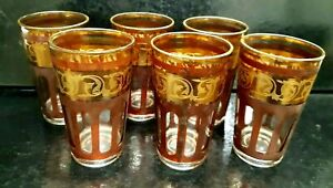 Vintage Set 6 Venetian Gold Gilt Glass Italian Hand Crafted Water/Spirit Glasses