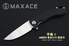Maxace Balance S Folding Knife SS + Black G10 Handle Plain Satin Blade MBS01