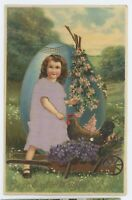 Best EASTER Wishes, Cute Girl with Egg, Flowers, Chick Vintage Silk Postcard