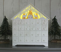 Christmas LED Wooden Advent Calendar Ornament Battery Operated Xmas Festive Kids
