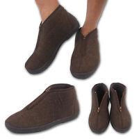 Mens Herringbone Style Leisure Comfort Winter Zip Up Boots Slippers Indoor Shoes