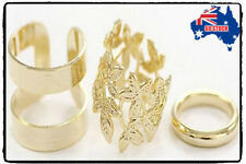 Xmas Knuckle Finger Ring Set Christmas Fashion Women's Metal Gold Plated Leaf