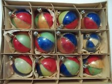 New Listing12 Vintage Christmas ornaments Colorful Balls Unsilvered in orig. box Poland