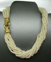 Vintage Carolee 10 Strand Faux Pearls Torsade Choker Necklace Gold Tone - C8
