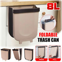 8L Creative Wall Mounted Folding Waste Bin Kitchen Can Rubbish Container Box PP