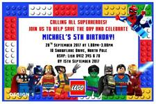 1 x LEGO SUPERHEROES BOYS BIRTHDAY PERSONALISED INVITATIONS + MAGNETS