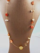 HANDCRAFTED NECKLACE WITH LAMPWORK, SHELL, & OTHER BEADS - FREE UK P&P.....HM890