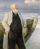 """perfect oil painting handpainted on canvas""""a man beside a boat""""@N13987"""