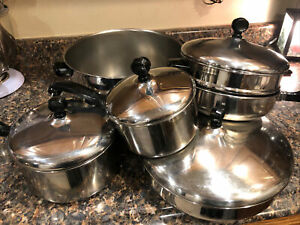 Vintage Farberware Stock Pot Aluminum Clad Stainless Steel w/ Lids USA LOT OF 10