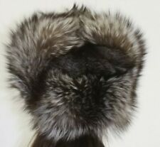 Unisex Stunning real Silver Fox Real fur Trapper style hat 56 cm circumference