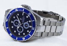 Diver's Cavadini Full Calendar GMT Watch 30 Bar Waterproof Solid Azure Blue NEW