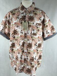 Free Planet Hawaiian Print Button Down Shirt Size 2X Short Sleeve NWT MSRP $68