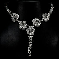 925 plata esterlina genuino Swiss Marcasita Flor Diseño Collar 20.5 pulgadas