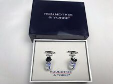 Roundtree & Yorke Cuff Links Mens Womens Christmas Snowman Gift Box NEW