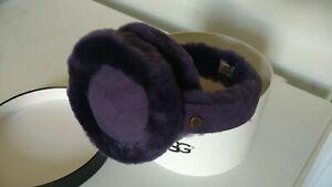 UGG Genuine Dyed Shearling Center Strip EarMuffs Purple Night Shade NWT NIB
