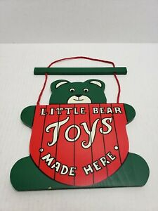 """Retro Vintage Wooden Painted Little Bear Toys Made Here Hanging Sign 14""""x10"""" USA"""
