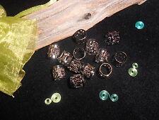 Dreadlock Beads 10x  Gunmetal Grey Wrap Cuffs Dread Rings Beard Clip Ring Cuffs