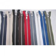 YKK Metal Open Ended Zip Silver Teeth Choice Of Length & Colour