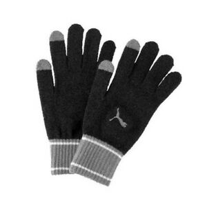 Puma Mens Adults Knitted Winter Outdoor Gloves Black/Grey