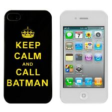 kwmobile Schutz Hülle für Apple iPhone 4 4S Keep Calm Call Batman Gelb Case