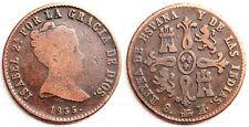 Espagne Isabelle II 8 Maravedis. 1835 Ségovie MBC VF Cuivre 10,8 g. Rare