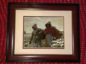 Framed Black African American Cotton Pickers Painting Real Canvas Art Print