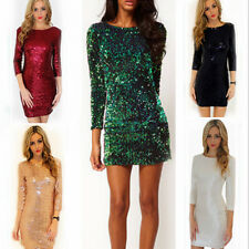 Hot Sexy Women Party Evening Cocktail Sequins Bodycon Club Mini Pencli Dress