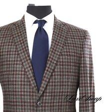 #1 MENSWEAR Epaulet x Southwick Cashmere Wool Brown Green Gun Check Jacket 41 NR