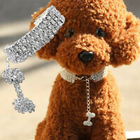 RHINESTONE DIAMANTE CRYSTAL BLING BAND PUPPY DOG CAT PET COLLAR PU LEATHER TAG S