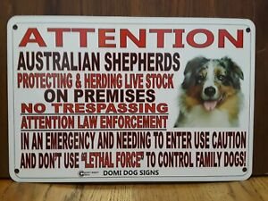 43 AUSTRALIAN SHEPHERD ALUMINUM DOG SIGN 9 X 12 SIGN