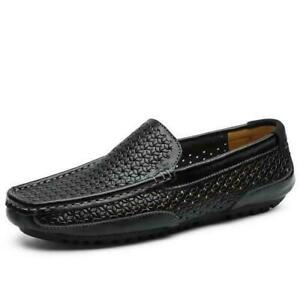 Mens Pumps Slip on Loafers Hollow out Breathable Driving Shoes Black US 9 New