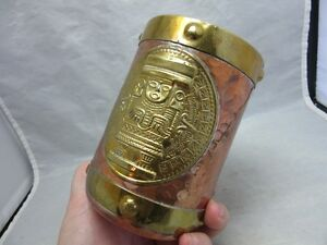 Stamped brass & hammered copper Mexican Sun God mug
