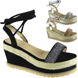 Sandals Platform Shoes Wedge Tie Up Summer Ladies Hessian High Heel Womens Size
