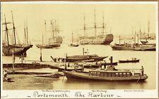 More details for the harbour, portsmouth, hampshire. excellent 1870 albumen photograph