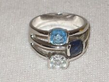 Vintage Lia Sophia Blue Crystal Silver Tone Band Ring Size 8.5