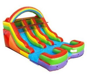 Double Water Slide Commercial Inflatable Blow Up Waterslide Rainbow With Blower