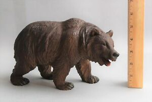 Antique Hand Carved Walnut Wood , Black Forest Folk Art Bear Sculpture NR