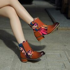 Womens Riding Ankle Boots Buckle Floral Round Toe Low Heel Combat Bootie Shoe Sz